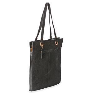 Black Genuine Suede Leather RFID Tote Bag (15x15 in)