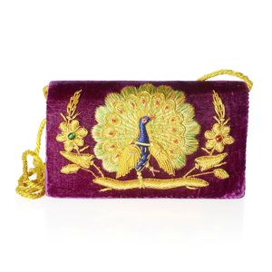Hand Embroidered Purple Velvet Peacock Clutch with Snap Closure and 25 In Strap (8x1.5x5.5 In)