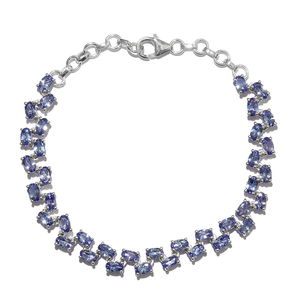 Premium AAA Tanzanite Platinum Over Sterling Silver Bracelet (7.50 In) TGW 8.45 cts.
