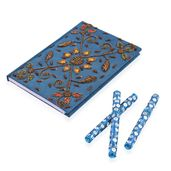 Blue Handcrafted Embroidered Diary (7x5 in) with Matching Set of 3 Bedazzled Pen