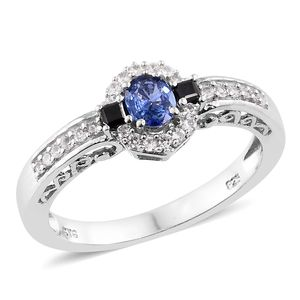 Ceylon Blue Sapphire, Thai Black Spinel, Cambodian Zircon Platinum Over Sterling Silver Ring (Size 8.0) TGW 0.93 cts.