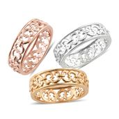 KARIS Collection - Set of 3 ION Plated 18K YRG and Platinum Bond Brass Openwork Band Rings (Size 6)