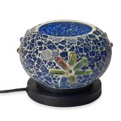 TLV Handcrafted Royal Blue Floral Design Mosaic Electric Lamp with Himalayan Salt (7 in)