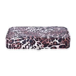 One Time Only Stainless Steel 17 Pc. Manicure Kit with Brown Leopard Faux Leather Case (8x4.5 in)