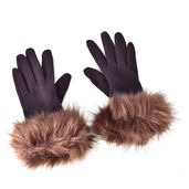 Brown 100% Polyester Faux Fur Glove (3.14x9.05 in)