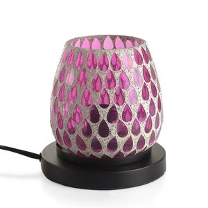 Handcrafted Fuchsia Teardrop Design Mosaic Electric Lamp with Himalayan Salt (5.5 in)