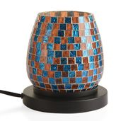 Handcrafted Multi Color Square Design Mosaic Electric Lamp with Himalayan Salt (5.5 in)