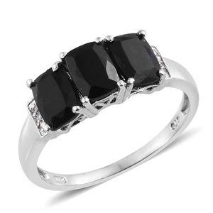 Australian Black Tourmaline, Cambodian Zircon Platinum Over Sterling Silver Trilogy Ring (Size 5.0) TGW 3.15 cts.