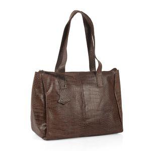 Mother's Day Special Dark Brown 100% Genuine Leather Croco Embossed RFID Shoulder Bag (13.5x6.25x11 in)