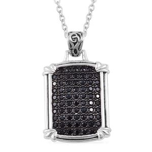Thai Black Spinel Black Rhodium Sterling Silver Pendant With Chain (18 in) TGW 1.15 cts.