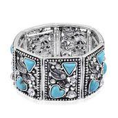 Blue Howlite, White Austrian Crystal Silvertone Bracelet (Stretchable) (6.50 In) TGW 40.00 cts.