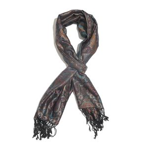 Black and Blue 100% Silk Jacquard Scarf with Handmade Fringes (28x72 in)