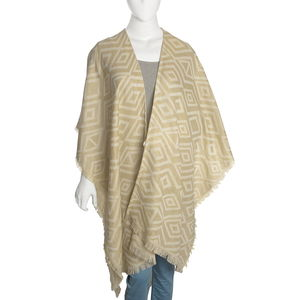 White and Beige 50% Cotton & 50% Acrylic Blend Poncho (40x80 in)