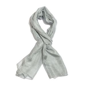 Gray and Black 100% Natural Mulberry Silk Polka Dot Printed Scarf (78x40 in)