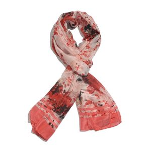 Pink and Red Floral 100% Natural Mulberry Silk Scarf (40x72 in)