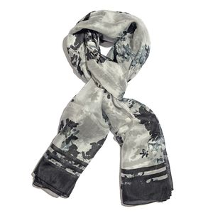 Black and Gray 100% Natural Mulberry Silk Floral Shadow Art Scarf (78x40 in)