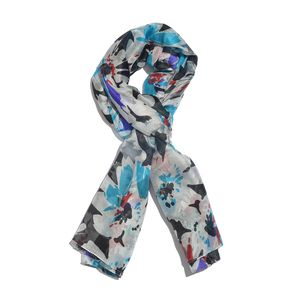 Turquoise and White 100% Silk Splash Floral Pattern Scarf (72x40 in)