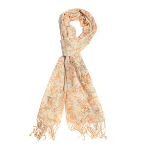 Tangerine 100% Viscose Splash Art Scarf with Fringes (72x28 in)