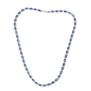 Mega Doorbuster Himalayan Kyanite, Cambodian Zircon Platinum Over Sterling Silver Night's Shine Tennis Necklace (18 in) TGW 34.28 cts.
