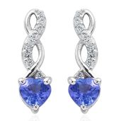 Premium AAA Tanzanite, Cambodian Zircon Platinum Over Sterling Silver Earrings TGW 0.88 cts.