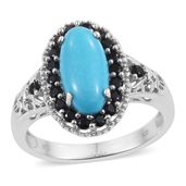 Arizona Sleeping Beauty Turquoise, Thai Black Spinel Platinum Over Sterling Silver Ring (Size 8.0) TGW 4.00 cts.