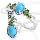 Ankur's Treasure Chest Arizona Sleeping Beauty Turquoise, Russian Diopside Platinum Over Sterling Silver Ring (Size 7) and Pendant With Chain (20 in) TGW 2.08 cts.