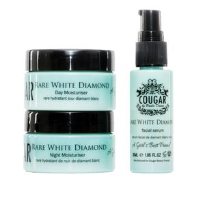 Cougar Beauty RARE WHITE DIAMOND -Day & Night Moisturizer (1.75 fl oz/ea), Facial Serum (1.05 fl oz)