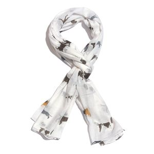 White 100% Cotton Dog Printed Scarf (72x45 in)