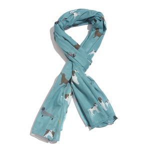 Teal 100% Cotton Dog Printed Scarf (72x45 in)