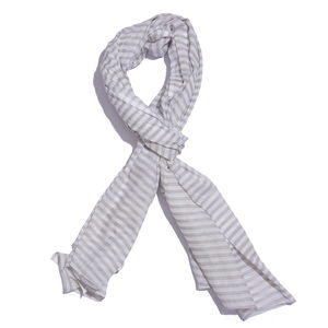 White and Gray 100% Cotton Stripe Printed Scarf (40x72 in)