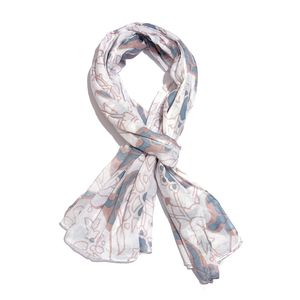Blue and White 100% Cotton Floral Printed Scarf (40x72 in)