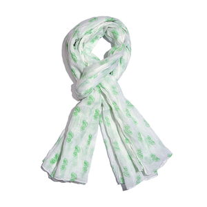 Green and White 100% Cotton Floral Spot Printed Scarf (40x72 in)