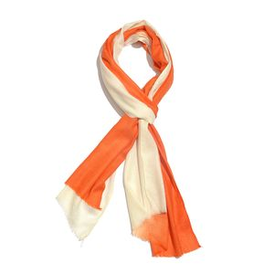 Orange Ombre 100% Merino Wool Scarf (84x28 in)