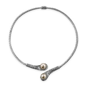 TLV Bali Legacy Collection South Sea Golden Pearl (11.8 mm) Sterling Silver Twisted Collar Necklace (17 in)