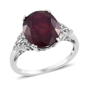 Niassa Ruby, Cambodian Zircon Platinum Over Sterling Silver Ring (Size 10.0) TGW 11.90 cts.
