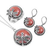 Goldstone Dragonfly Set, Lever Back Earrings, Ring and Necklace in Black Oxidized Stainless Steel 65.00 ct tw (Size 7)