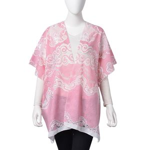Pink ang White Wave Pattern 100% Polyester Kimono (27.56x35.44 in)
