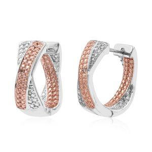 KARIS Collection - Champagne Diamond Accent ION Plated 18K RG and Platinum Bond Brass Inside Out Hoop Earrings