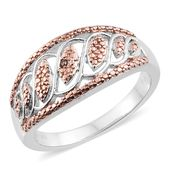 Natural Champagne Diamond ION Plated RG and Stainless Steel Ring (Size 6.0)