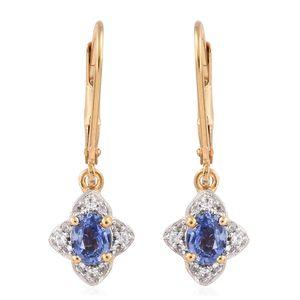 Ceylon Blue Sapphire, Cambodian Zircon 14K YG Over Sterling Silver Lever Back Earrings TGW 1.15 cts.