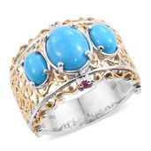 Arizona Sleeping Beauty Turquoise, Ruby 14K YG and Platinum Over Sterling Silver Ring (Size 10.0) TGW 4.11 cts.