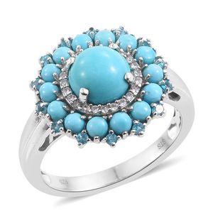 Arizona Sleeping Beauty Turquoise, Malgache Neon Apatite, Cambodian Zircon Platinum Over Sterling Silver Ring (Size 7.0) TGW 3.33 cts.