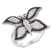 KARIS Collection - Champagne Diamond Black Rhodium & Platinum Bond Brass Accent Butterfly Ring (Size 10.0)