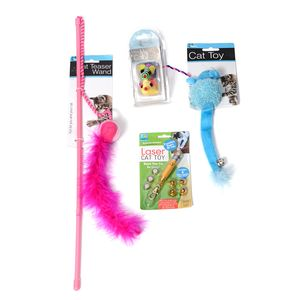 Value pack of Cat Toys: Laser Cat Toy, Toy Mouse, Striped Mice Cat Toy Set, Curly Cat Teaser Wand (Pink)