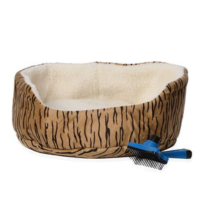 Light Gold Tiger Stripes Pattern Indoor Small Pet Bed and Pet Brush