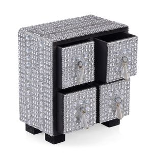 Silver 4 Drawer Bling Chest Jewelry Box (5x3x5.5 in)