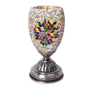 Turkish Inspired Handcrafted Multi Color Eternity Moroccan Mosaic Table Lamp with Bronze Base (9x4.5 in) (Requires  E-12 Bulb Adapter Included)