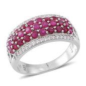 Web Exclusive Doorbuster Burmese Ruby, Cambodian White Zircon Sterling Silver Cluster Ring (Size 7.0) TGW 2.96 cts.