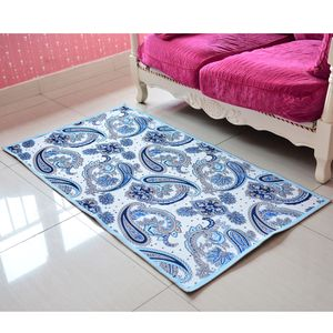 Blue Abstract Pattern 100% Polyester Non-woven Backing Anti-slip Carpet (31.5x59 in)