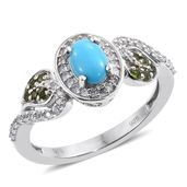 Arizona Sleeping Beauty Turquoise, Russian Diopside, Cambodian Zircon Platinum Over Sterling Silver Leaf Ring (Size 9.0) TGW 1.22 cts.
